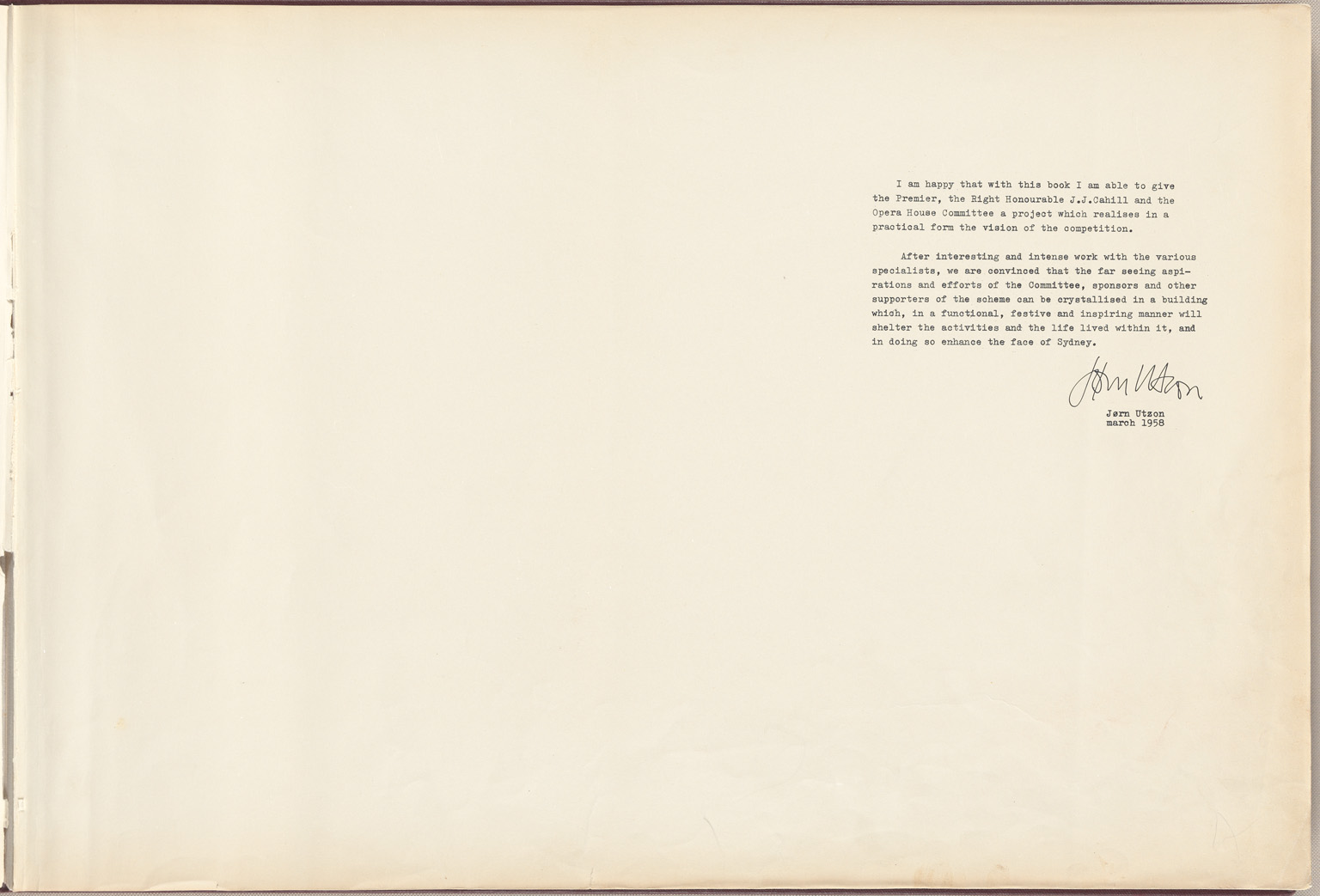 Message by Jorn Utzon Sydney Opera House Red Book