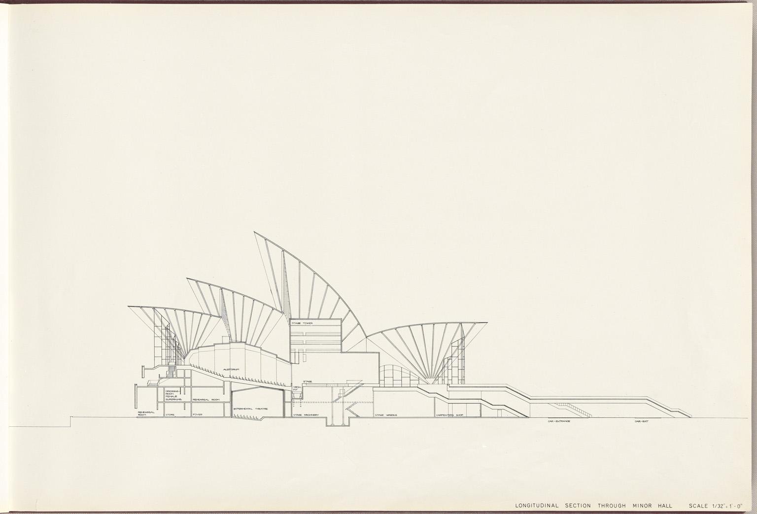 Longitudinal section through minor hall Sydney Opera House Red Book