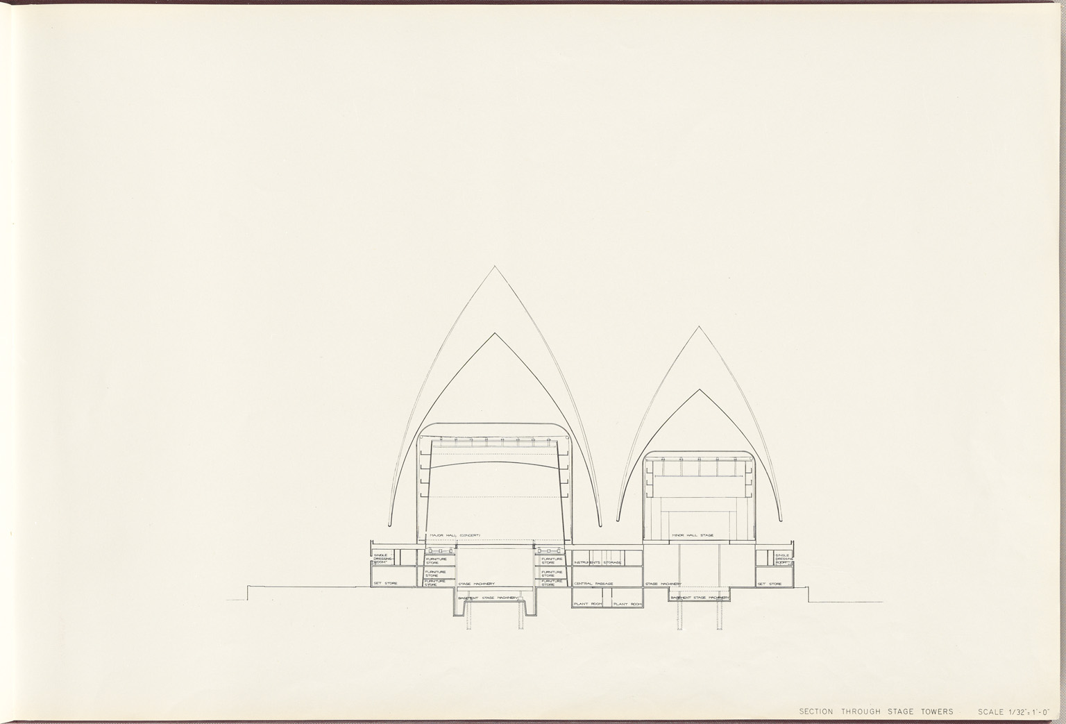 Section through stage towers Sydney Opera House Red Book