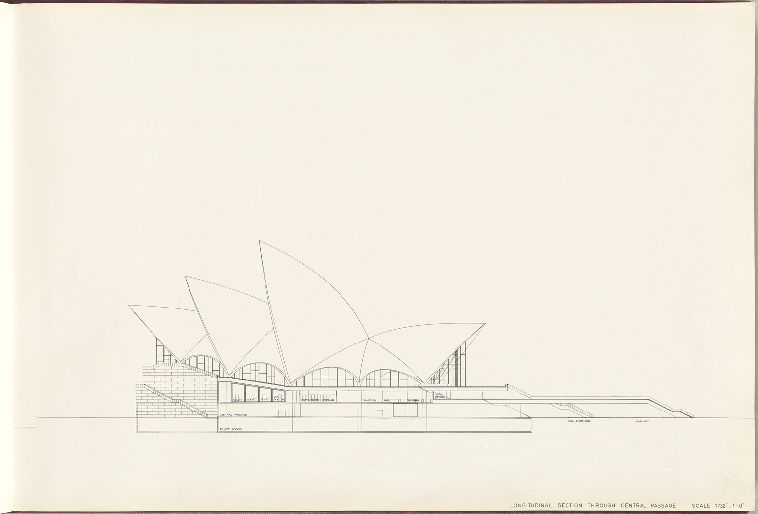 Longitudinal section through central passage Sydney Opera House Red Book