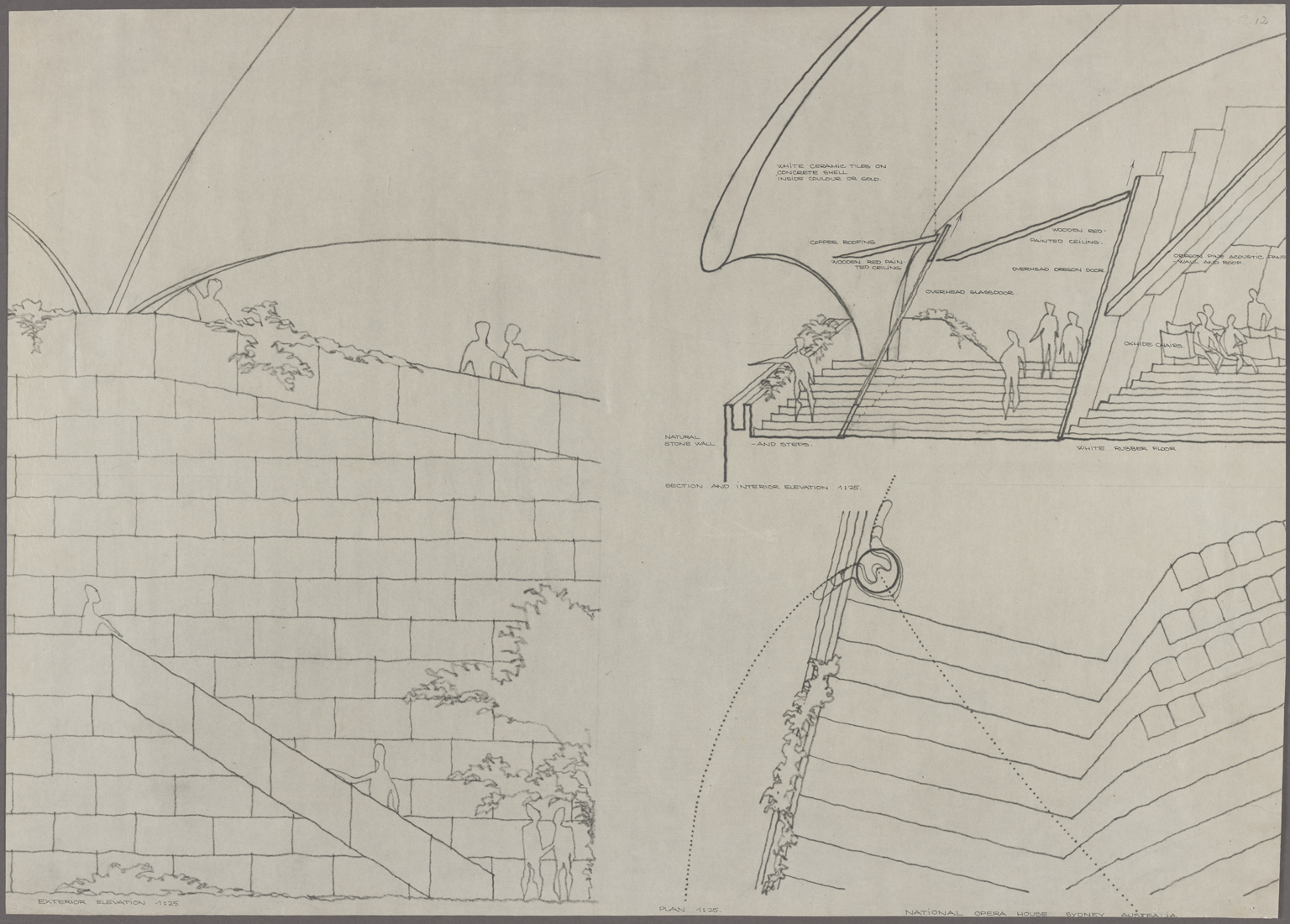 Competition drawings submitted by Jørn Utzon to the Opera