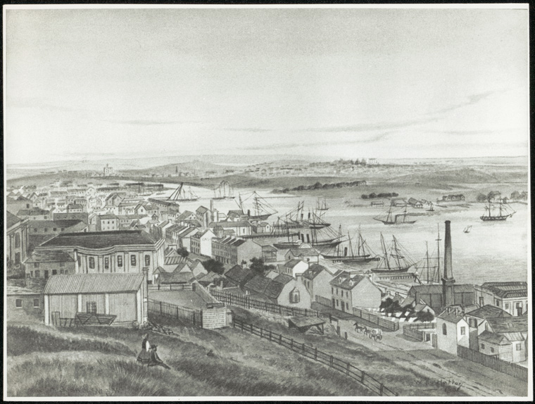 Fort Street Public School - Depiction of Darling Harbour 1859 by W.S. Hattan, Fort Street left in foreground