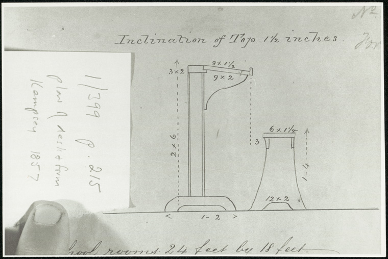 Furniture - Plan of desk from Kempsey