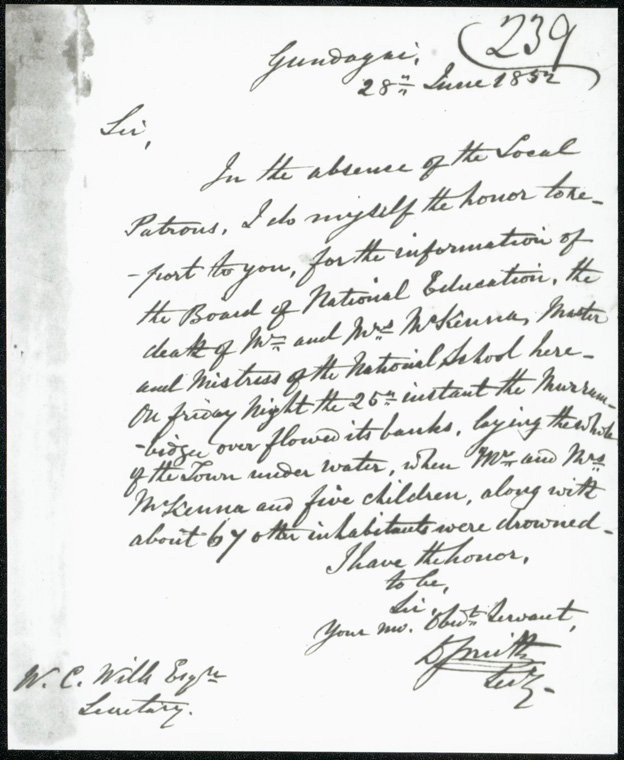 Gundagai Public School - Board of National Education miscellaneous letters 1848-49 [re: Death of Mr && Mrs McKenna, staff at the National School]