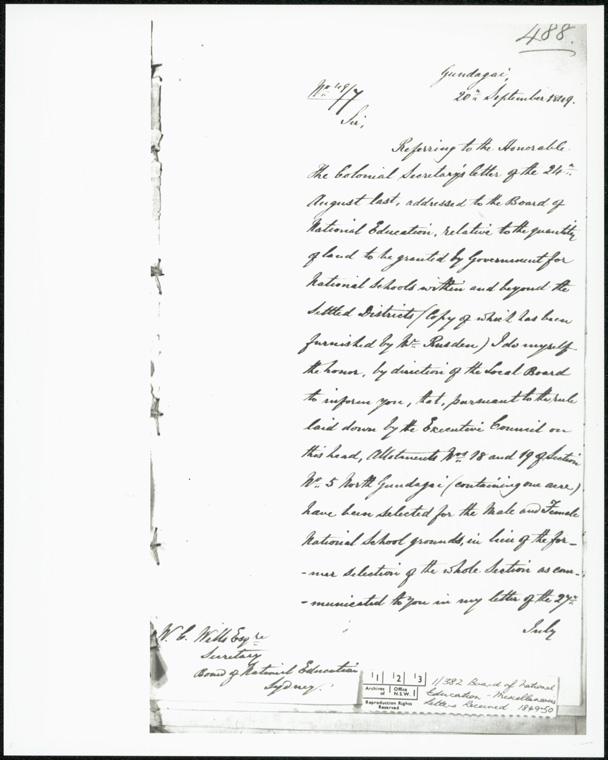 Gundagai Public School - Board of National Education miscellaneous letters 1848-49