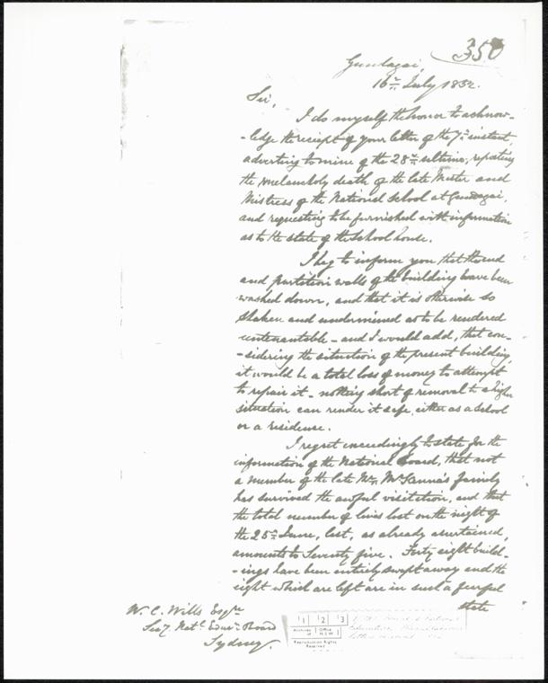 Gundagai Public School - Board of National Education miscellaneous letters 1852