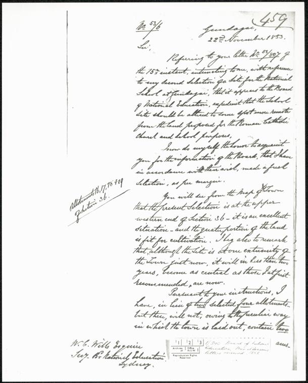 Gundagai Public School - Board of National Education miscellaneous letters 1853
