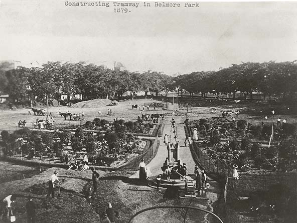 [Construction of first tramway at Belmore Park, Sydney (NSW)]