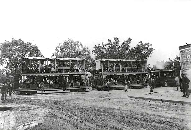 [The first steam tram at the intersection of Market St and Elizabeth St, Sydney (NSW)]