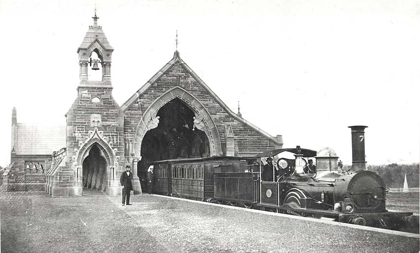 [No.1 Mortuary Railway station, Rookwood Cemetery (NSW) - Funeral Train in Station]