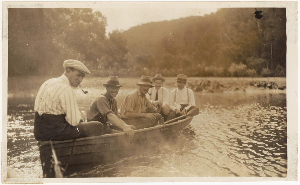 L8 - [Photograph from Main Roads Board album - 5 men in a row boat]