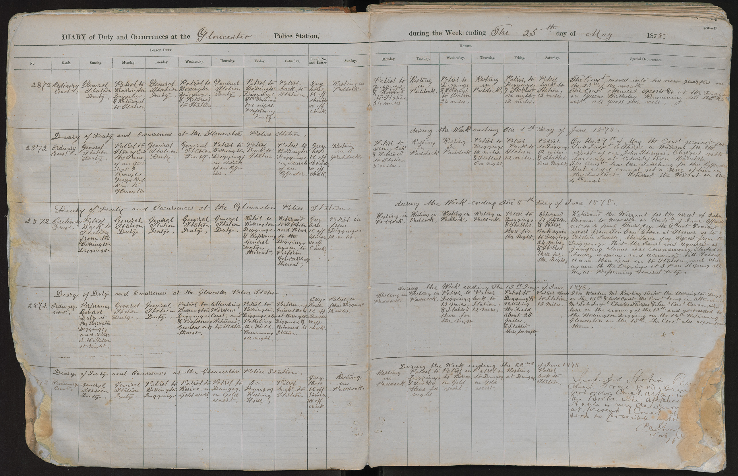 Diary of duty and occurrences at the Gloucester Police Station during the week ending the 25th day of May 1878