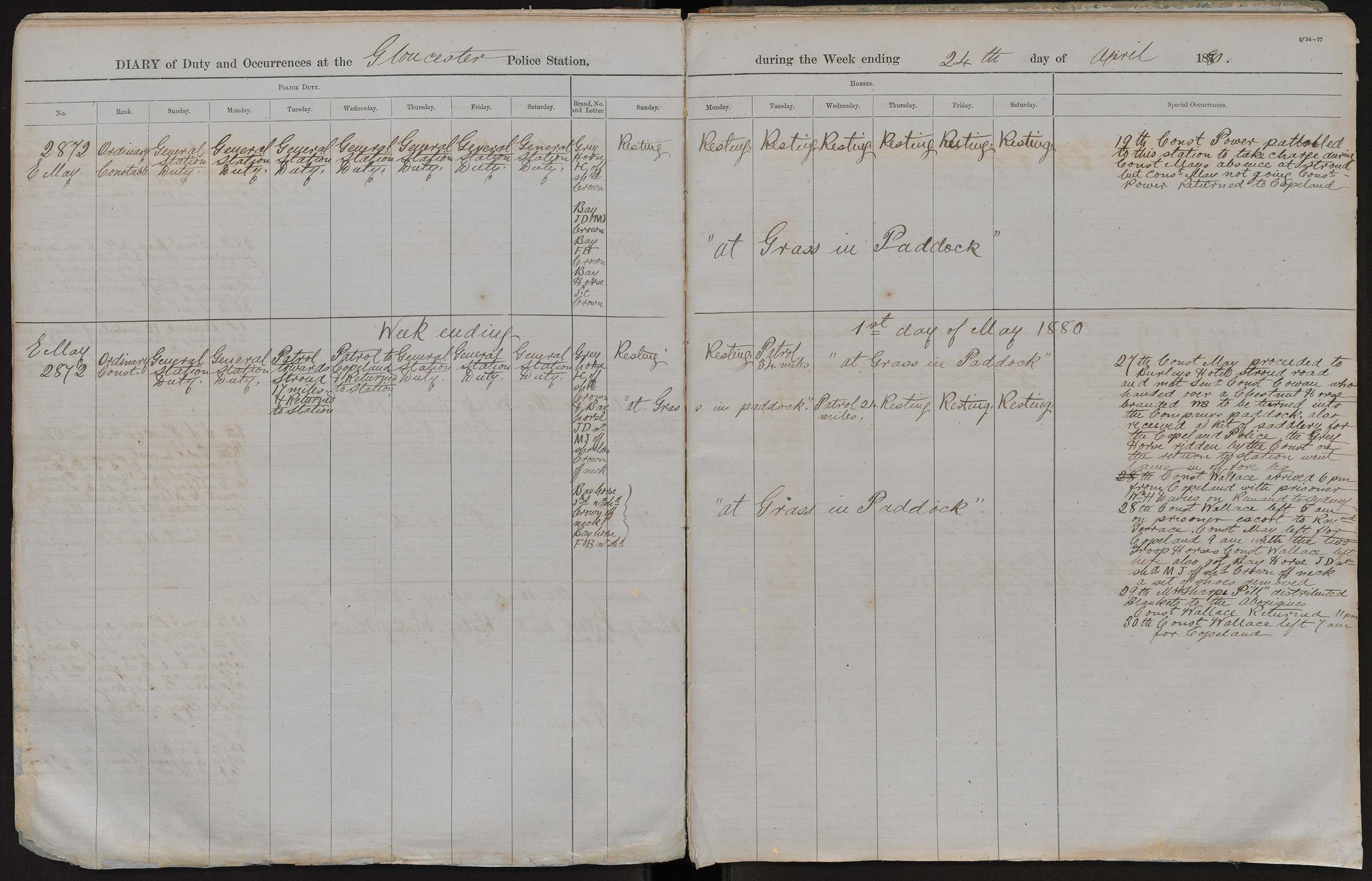 Diary of duty and occurrences at the Gloucester Police Station during the week ending the 24th day of April 1880