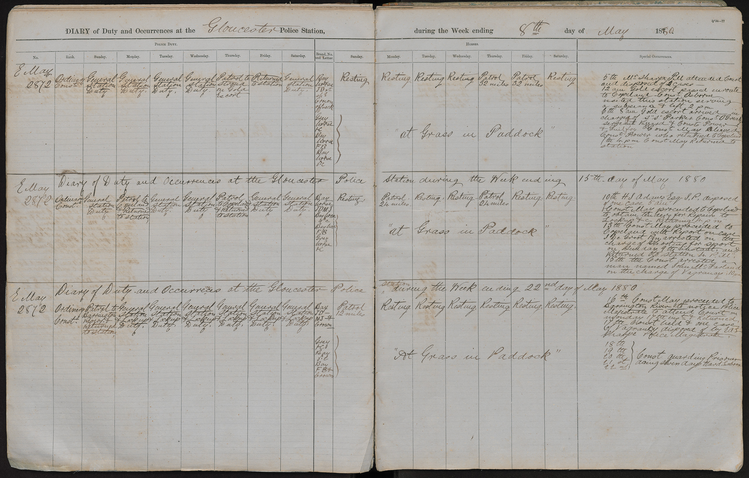 Diary of duty and occurrences at the Gloucester Police Station during the week ending the 8th day of May 1880