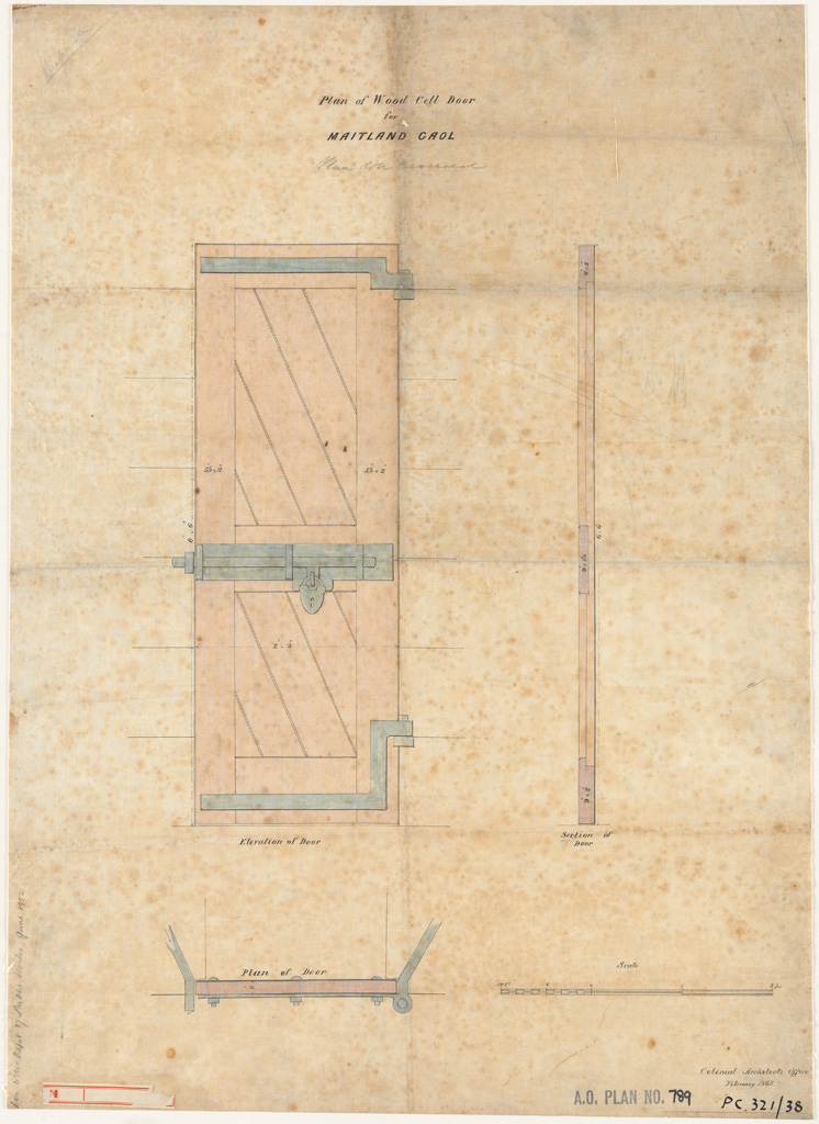 Maitland Gaol. Wood Cell Door plan, elevation and section