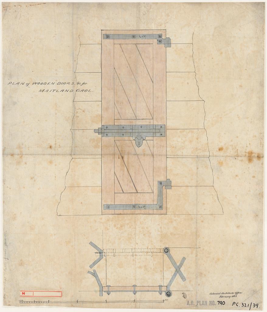 Maitland Gaol. Plan of wooden doors etc.