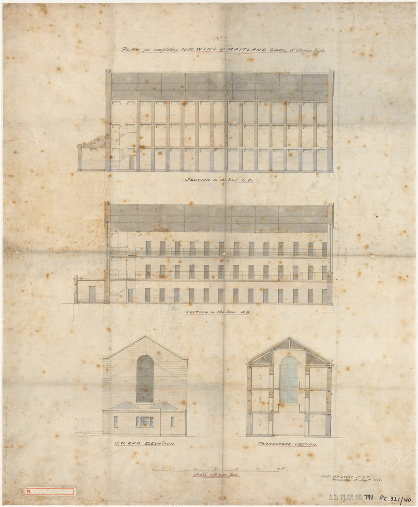 Maitland Gaol. Plan for completing N.W. Wing 3 stories high, with S.W. end elevation and sections.  Signature of architect (Lewis) appears on the plan