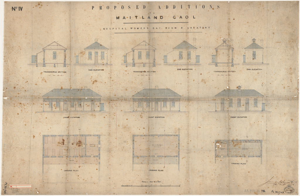 Maitland Gaol. Proposed additions to hospital women?s day room and lavatory. Plans, elevations and sections. Signature of architect (Barnet)appears on the plan