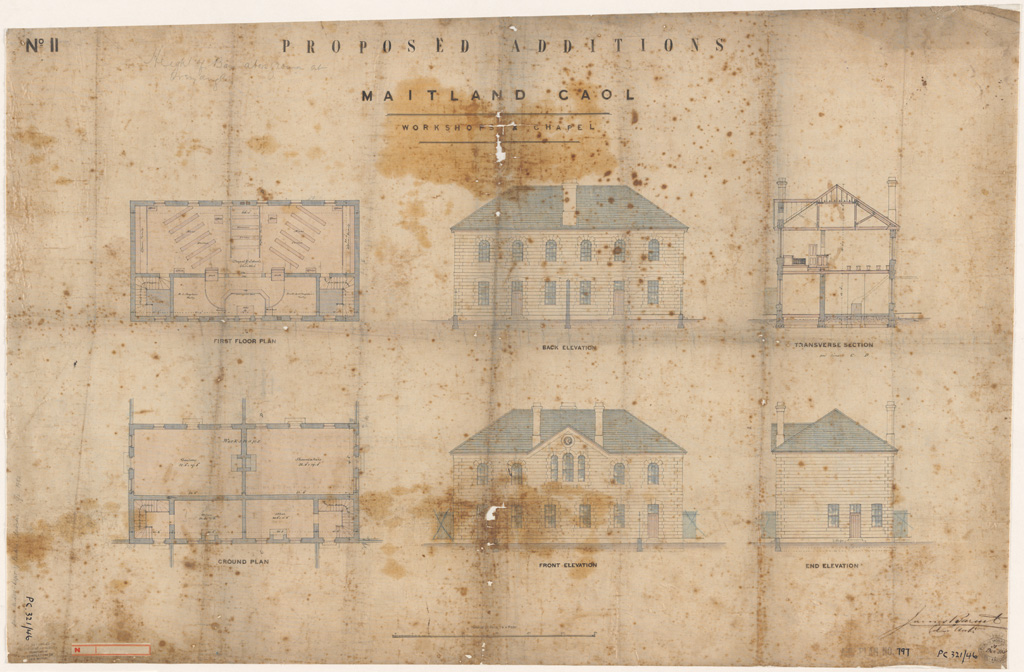 Maitland Gaol. Proposed additions. Workshop and Chapel plan, elevations and sections. Signature of architect (Barnet) appears on the plan