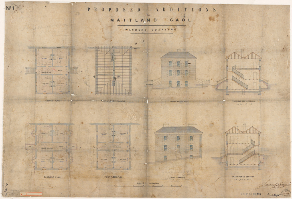 Maitland Gaol. Proposed additions. Warders quarters plans, elevations and sections. Signature of architect (Barnet) appears on the plan