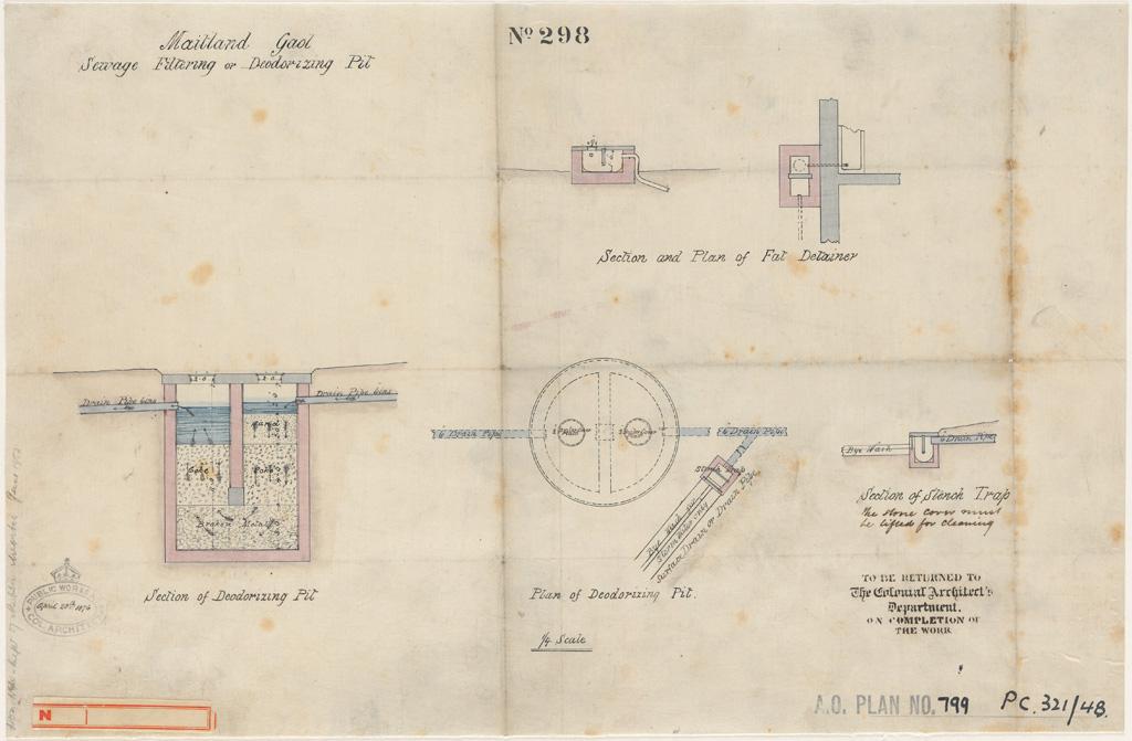 Maitland Gaol. Sewerage filtering or deordorizing pit