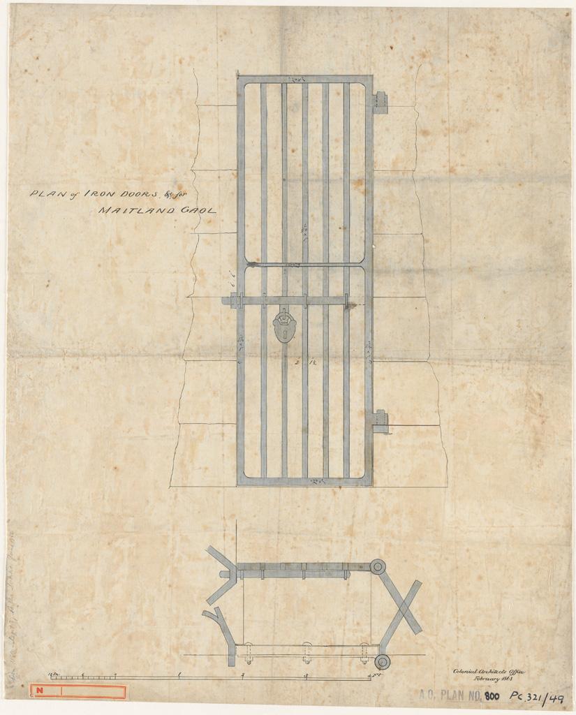 Maitland Gaol. Plan of iron doors etc.