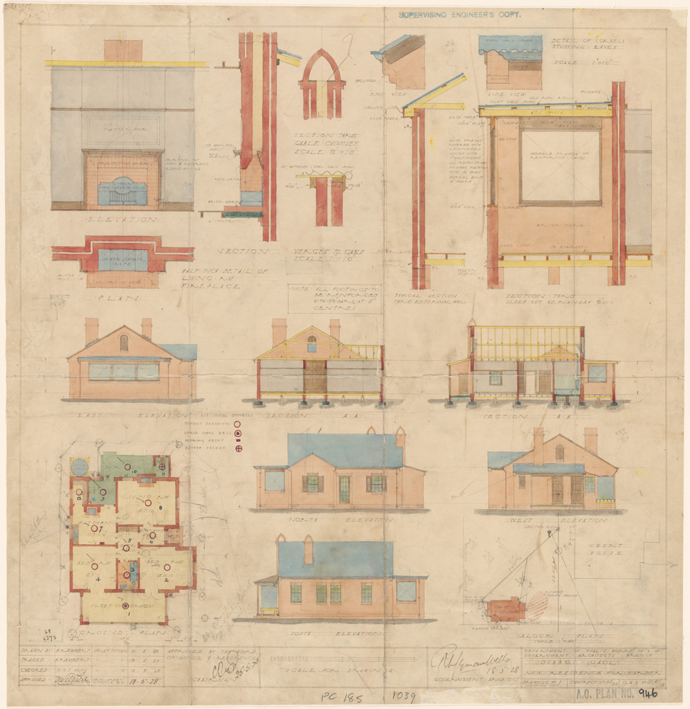 Dubbo Gaol. New residence for Warder. Plans, elevations and sections. Signature of architect (RMS Wells) appears on the plan