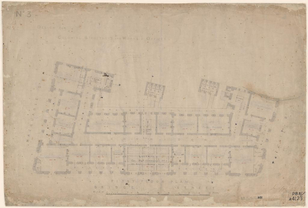 Sydney Colonial Secretary and Public Works Offices see also Public Works Offices. First floor plan. Signature of architect (Barnet) appears on the plan