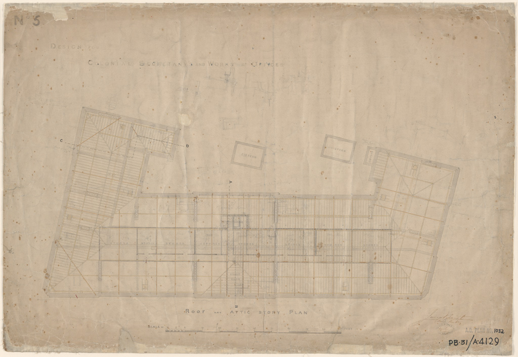 Sydney Colonial Secretary and Public Works Offices see also Public Works Offices. Roof and attic storey plan. Signature of architect (Barnet) appears on the plan