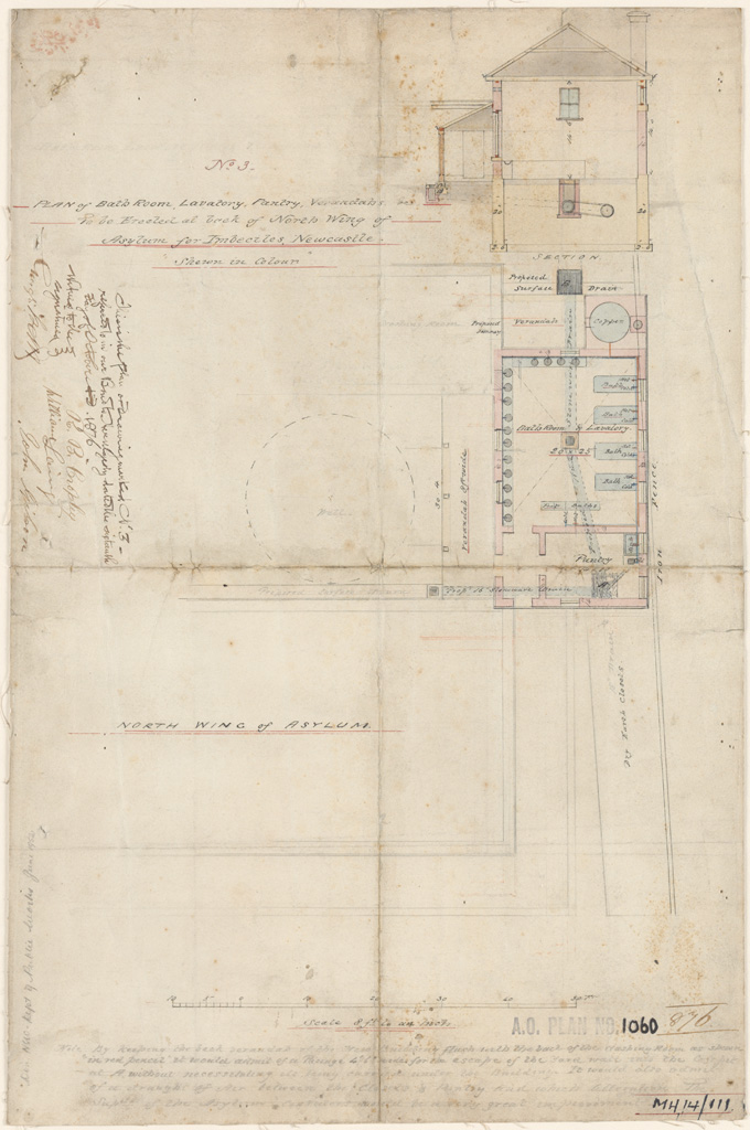 Newcastle asylum for imbeciles plan of bathroom, lavatory, pantry, verandah to be erected at back of north wing