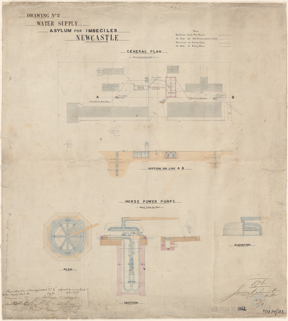 Newcastle Asylum for Imbeciles water supply. Signature of architect (Barnet) appears on the plan
