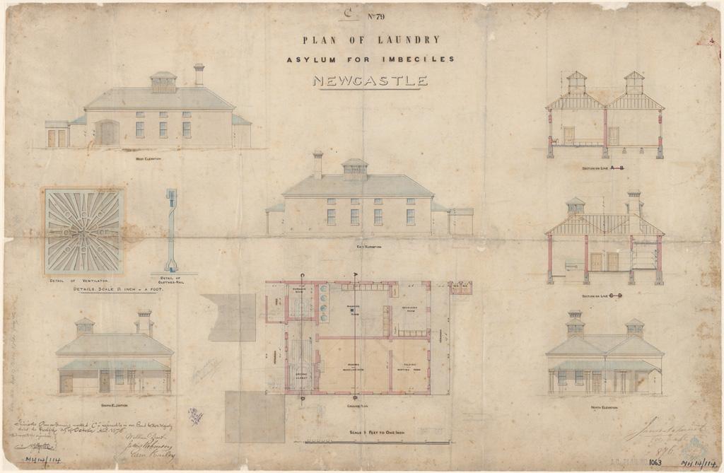 Newcastle Asylum for Imbeciles plan of laundry. Signature of architect (Barnet) appears on the plan