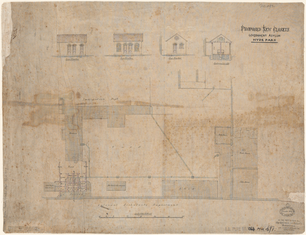 Sydney Hyde Park Government Asylum. Plan, Section and elevations