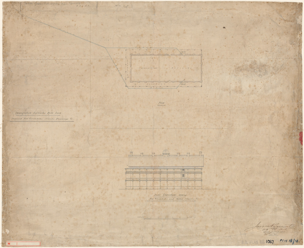 Sydney Immigration Barracks (Hyde Park). Plan and side elevation of proposed new verandahs, closets, drainage etc. Signature of architect (Barnet) appears on the plan