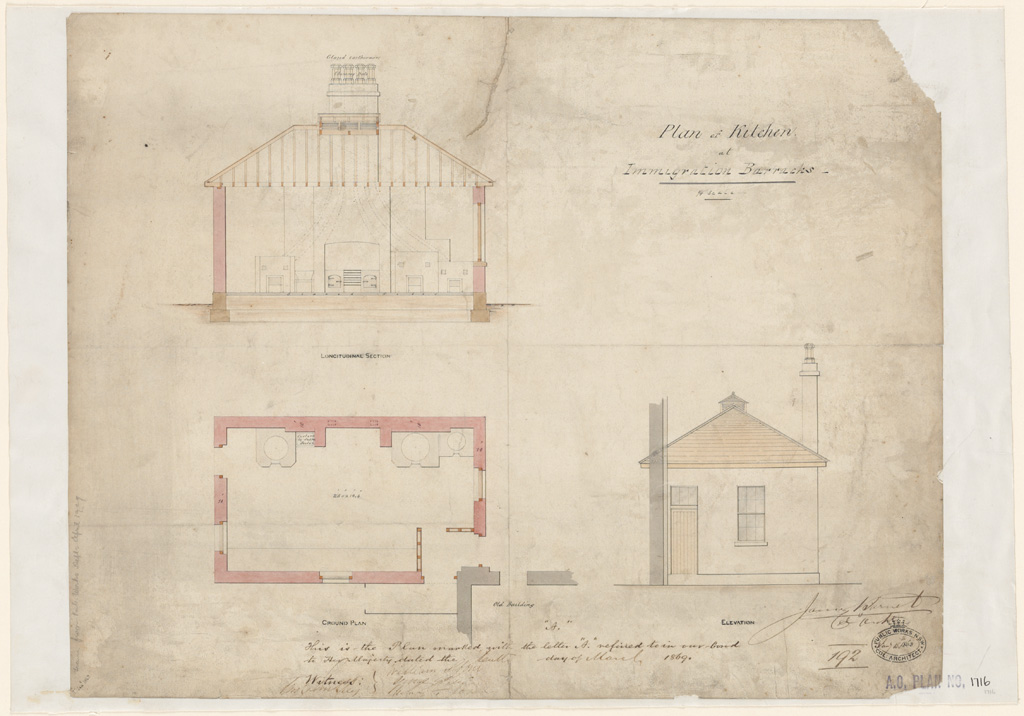 Sydney Immigration Barracks. Plan of Kitchen. Ground plan, elevation and section. Signature of architect (Barnet) appears on the plan