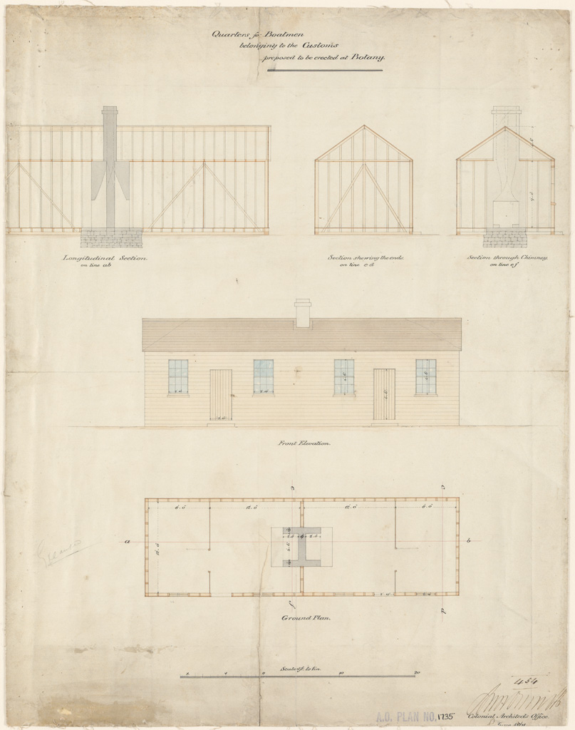Botany Quarters for Boatmen belonging to the Customs proposed to be erected at Botany. Ground plan, sections and elevation. Signature of architect (signed, illegible) appears on the plan