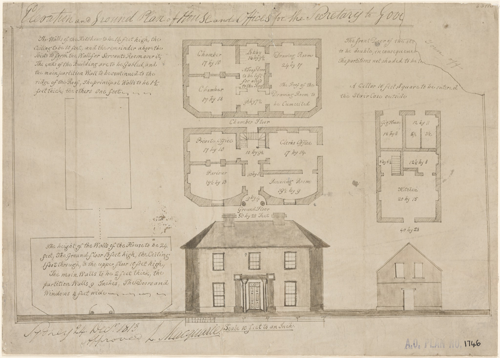 Sydney Elevation and Ground Plan of house and offices for the Secretary to the Governor. Approved and signed by L. Macquarie [Colonial Secretary's House and Offices]