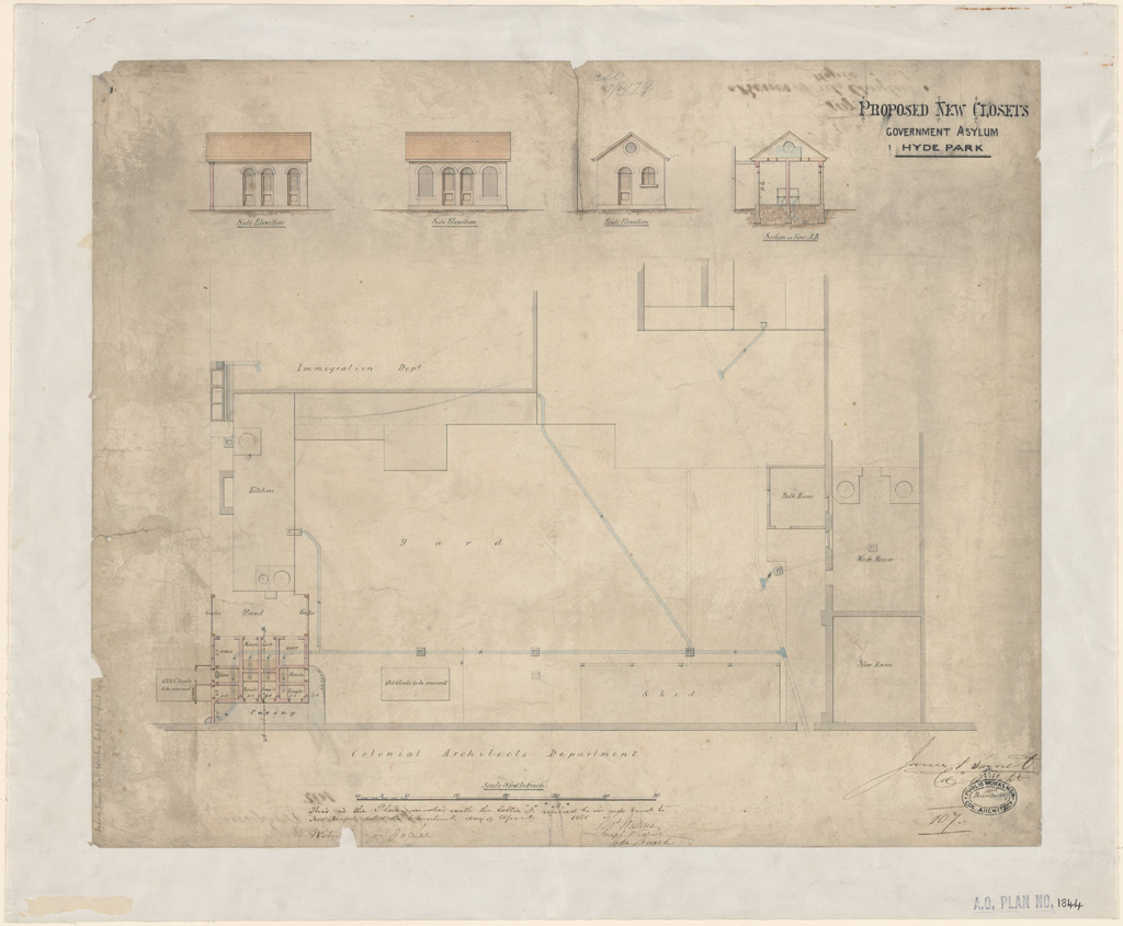 Sydney Proposed new closets Government Asylum Hyde Park. Signature of architect (Barnet) appears on the plan