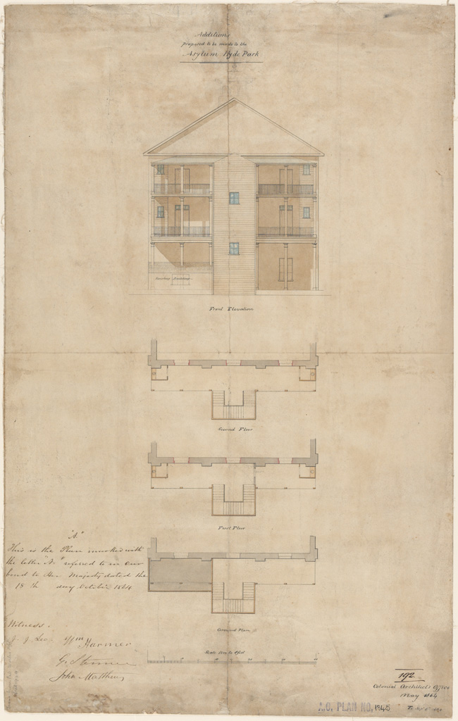 Sydney Additions proposed to be made to the Asylum Hyde Park. Ground plan, first floor plan, second floor plan and front elevation. Signature of architects (signed J. Lee, W. Harmer, G.Ste?, J.Matthew) appears on the plan