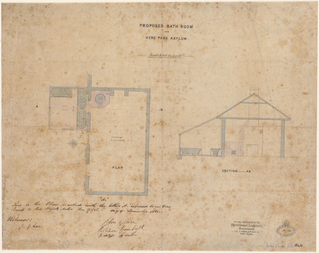Sydney Proposed bath room for Hyde Park Asylum. Plan and section. Signature of architects (J. Lee, J. Guile, W. Campbell, G. Guile) appears on the plan