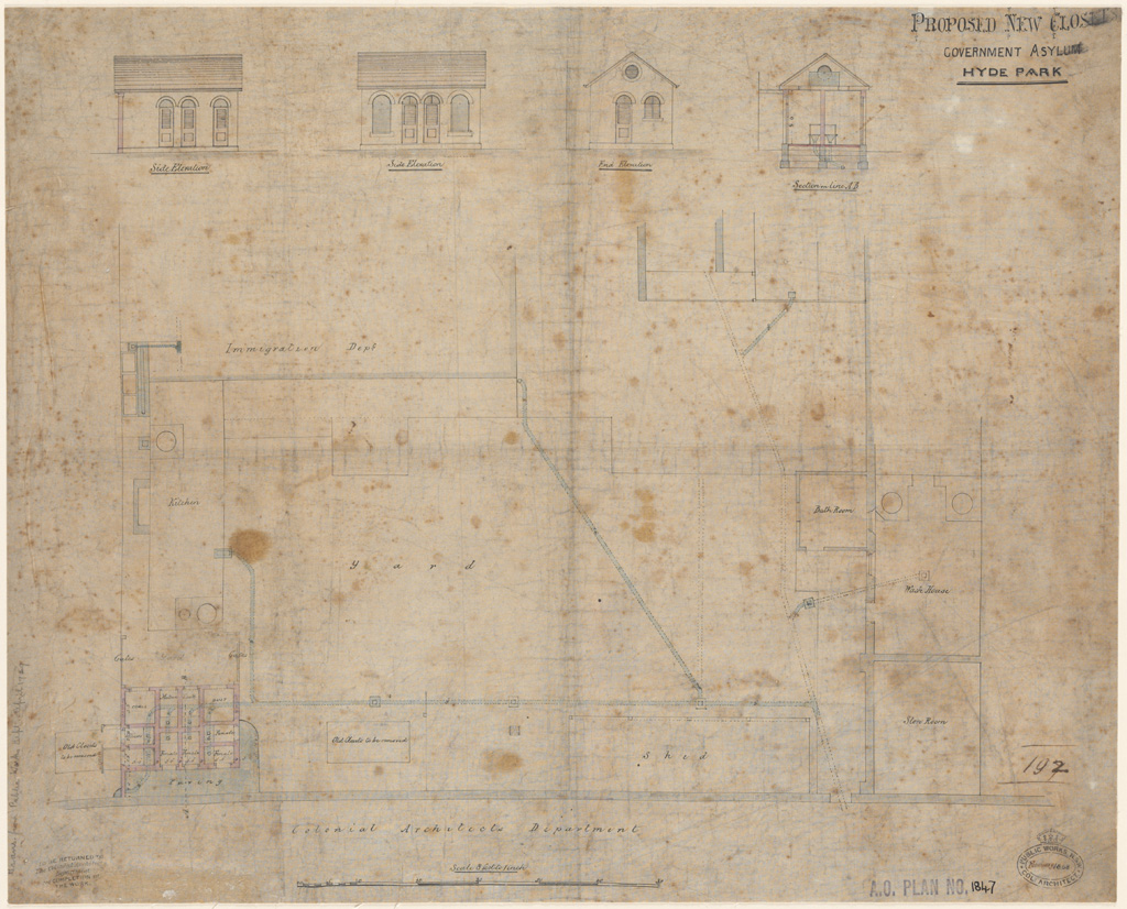 Sydney Proposed new closets Government Asylum Hyde Park. Plan, elevations and section