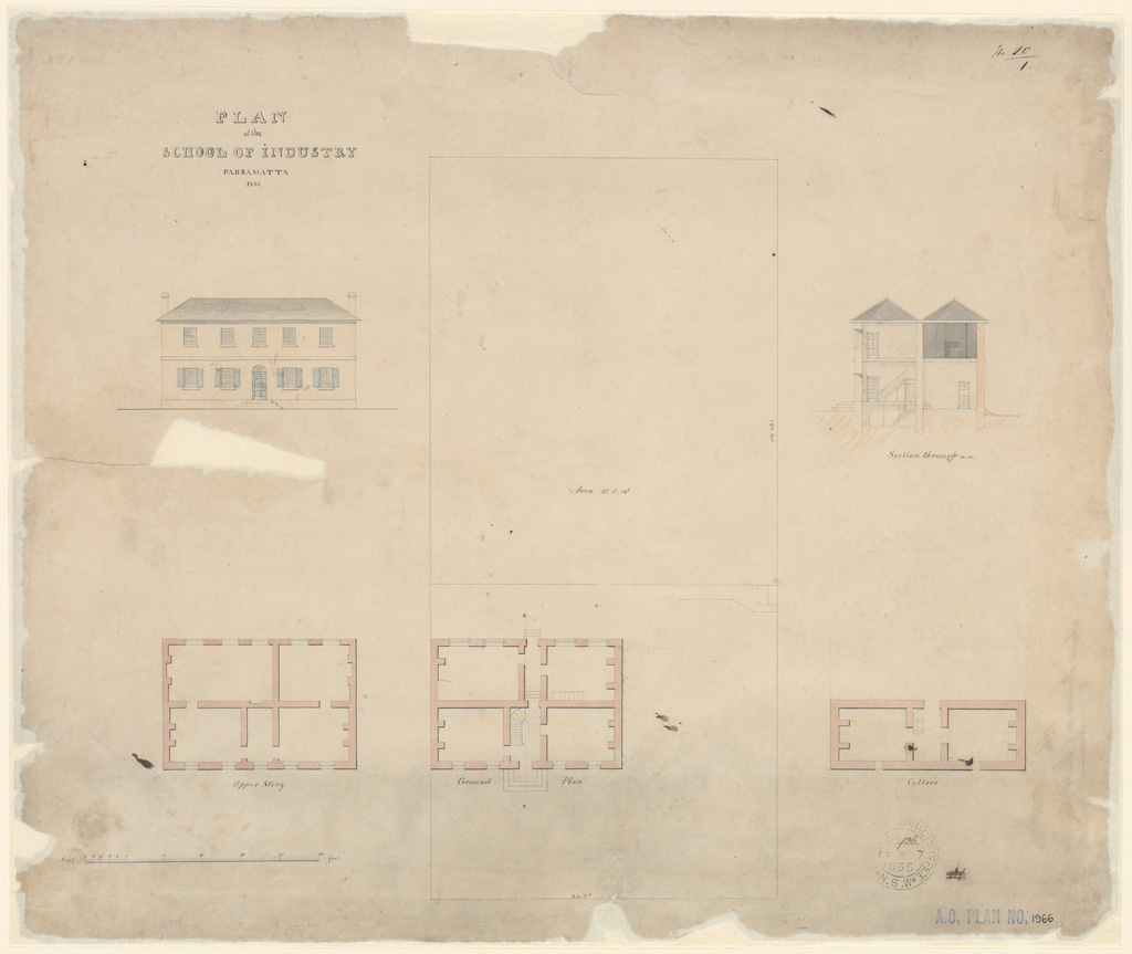 Parramatta Plan of the School of Industry Parramatta 1833. Plans, elevation and section