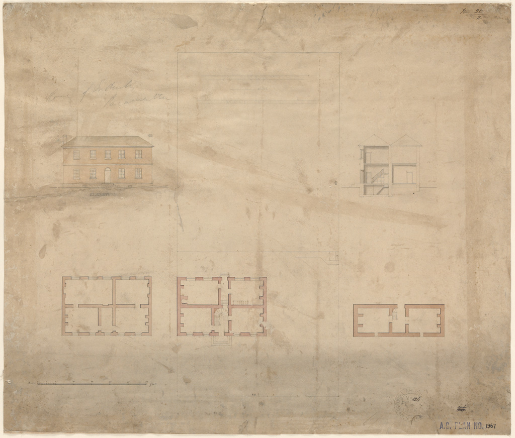 Parramatta School of Industry. Plans, elevation and section