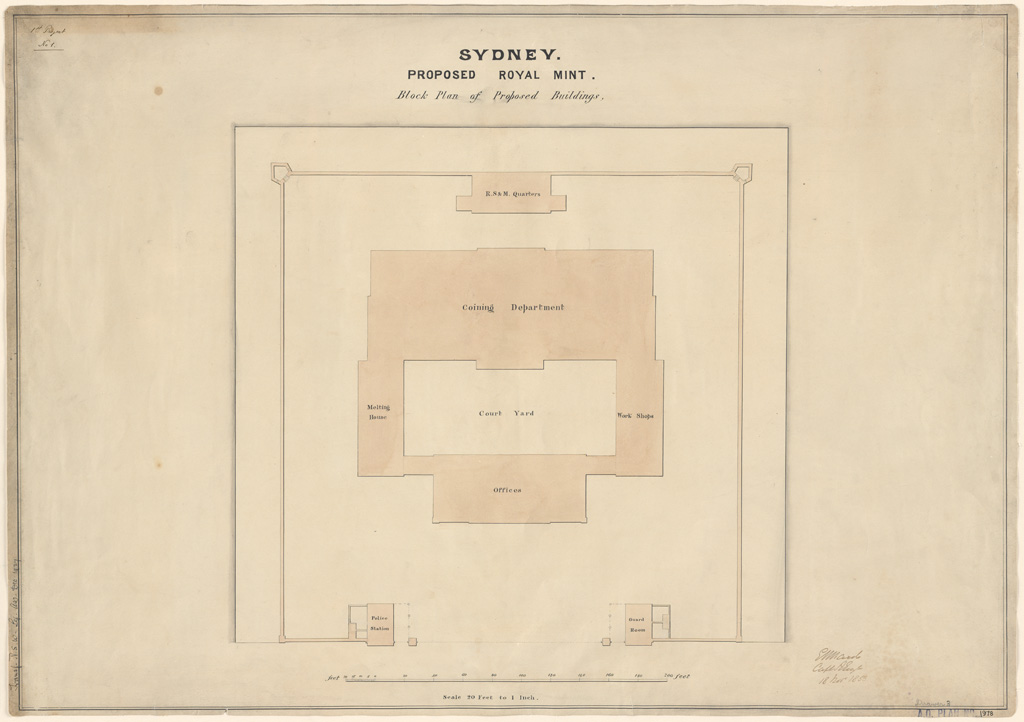 Sydney Proposed Royal Mint Block plan of proposed buildings. Signature of architect (E.Ward) appears on the plan