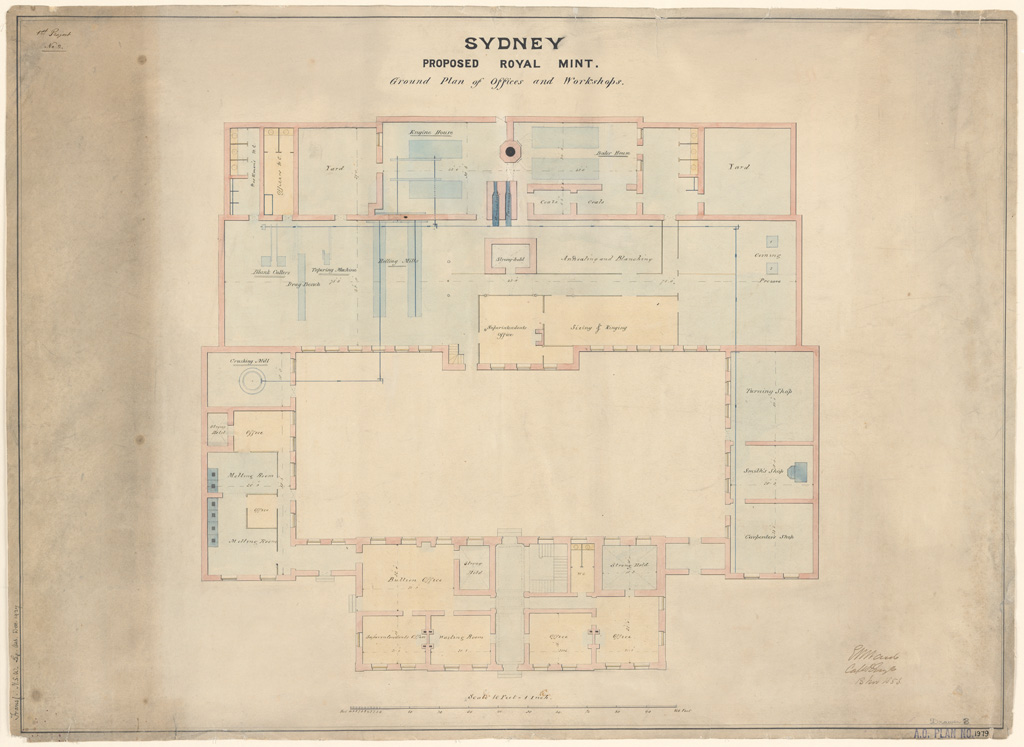 Sydney Proposed Royal Mint. Ground plan of proposed offices and workshops. Signature of architect (E.Ward) appears on the plan