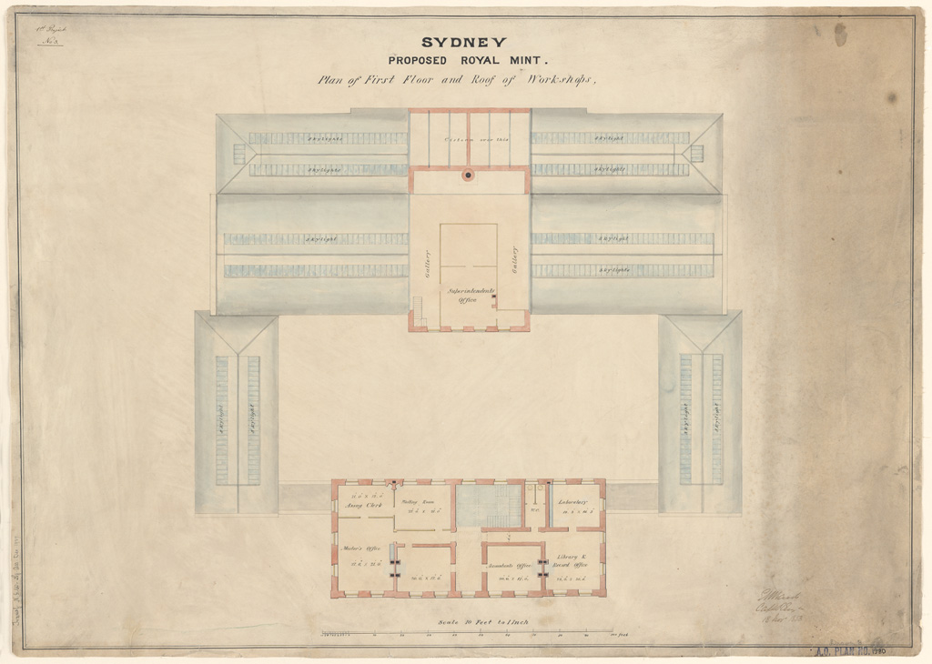 Sydney Proposed Royal Mint. Plan of proposed first floor and roof of workshops. Signature of architect (E.Maid) appears on the plan