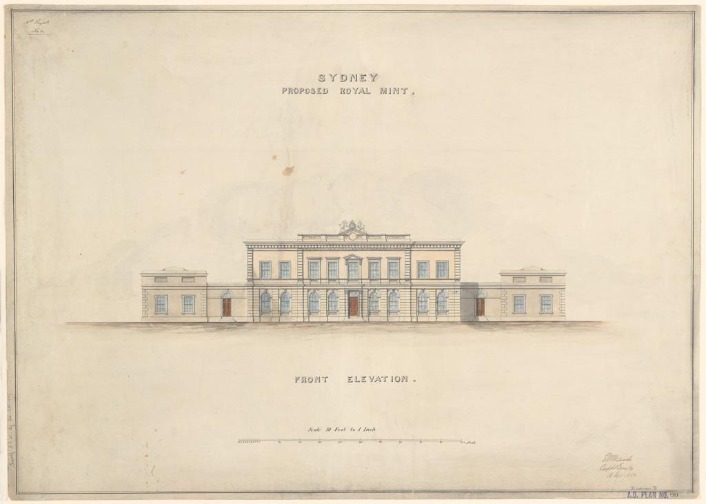 Sydney Proposed Royal Mint. Front elevation. Signature of architect (E.Ward)