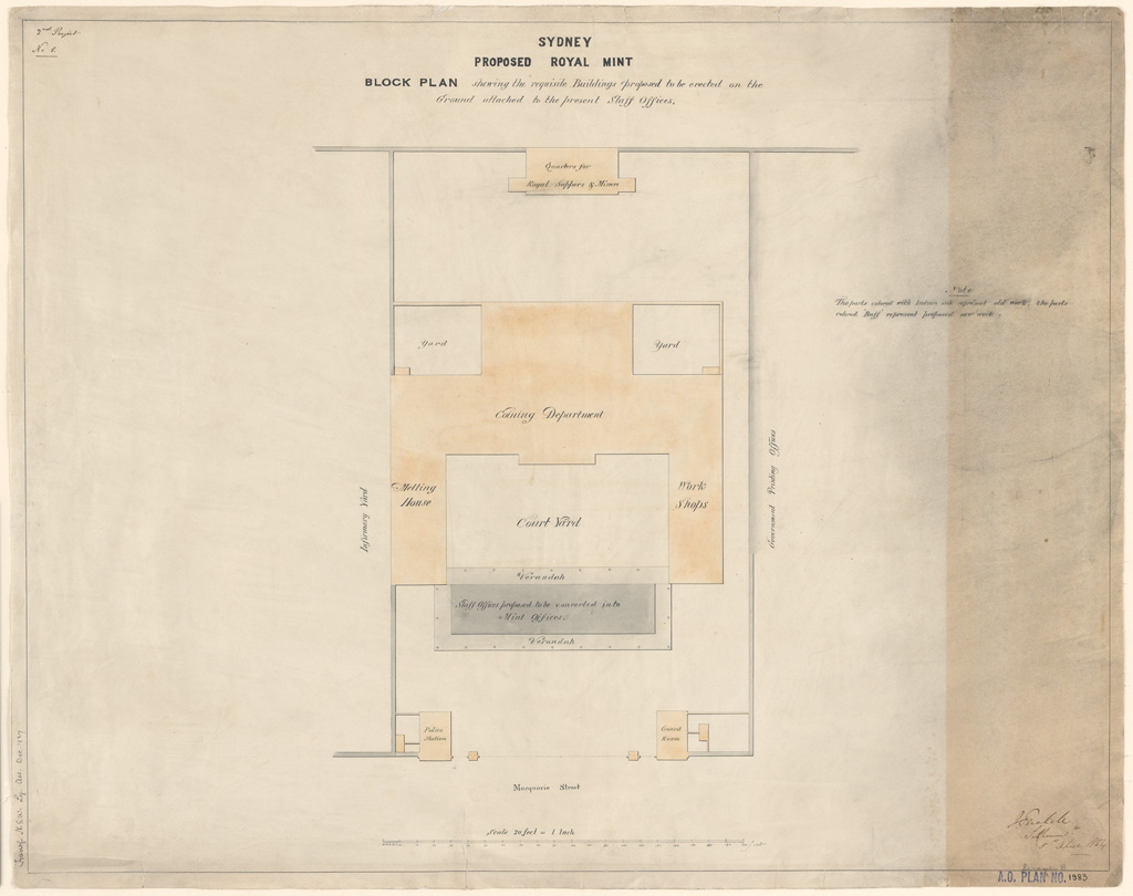 Sydney Proposed Royal Mint. Block plan showing the requisite buildings proposed to be erected on the ground attached to the present Staff Offices. Signature of architect (J.Trickett)