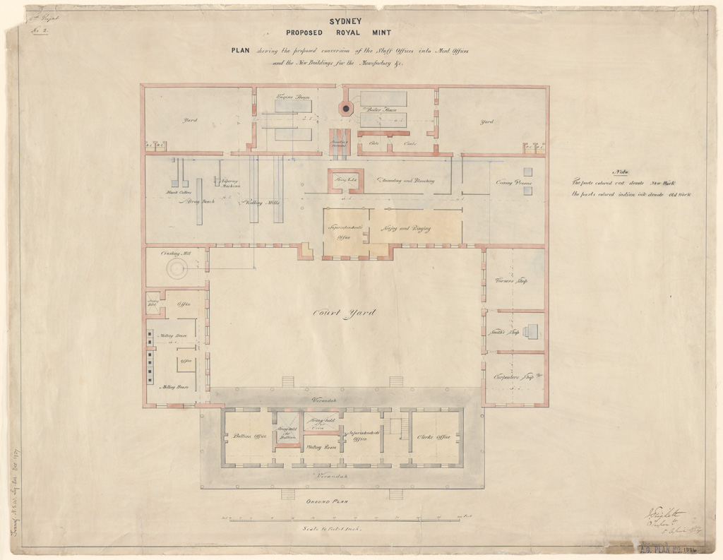Sydney Proposed Royal Mint. Plan showing the proposed conversion of the Staff Offices into Mint Offices and the new buildings for the manufactory &c. Signature of architect (J.Trickett)