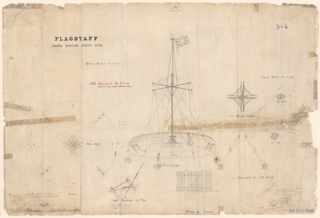 South Head Flagstaff Signal Station. Plan, elevations, sections. Signature of architect (Barnet) appears on the plan